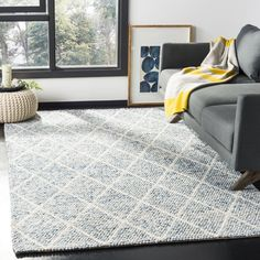 Laurel Foundry Modern Farmhouse Billie Hand-Tufted Cotton Ivory/Blue Area Rug Rug Size: Rectangle x Blue Wool, Transitional Style, Online Home Decor Stores, Blue Area Rugs, Colorful Rugs, Rug Size, Size 2, Modern Farmhouse, Family Room