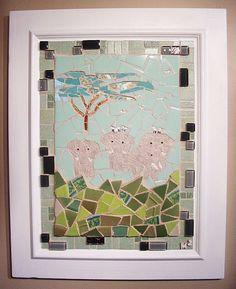 """The African Plain"" Tusked African Elephants Birds Banyan Tree Mosaic Wall Art  #ContemporaryArt"
