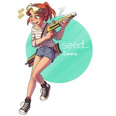 Meet Emma! She is the #maincharacter of my webcomic. I don't know what she is doing with that gun though. Link in the bio for the comic👆👆👆👆 #digitalart #webcomic #art #pinup #girl #tiredofhashtagging #drawing #linewebtoon #seedcomic