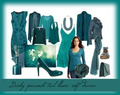 """Dusky teal blues: soft drama"" by springfellow ❤ liked on Polyvore. This is my Zyla dramatic color."