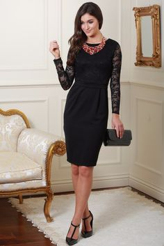 Brenda Black Long Sleeve Lace Dress