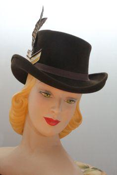 1940's Hat Doll Tilt Perch Hat Felt Diplomat by LadyEveMillinery, $149.00