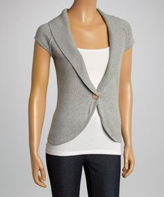 Love this Aryeh Gray Cap-Sleeve Cardigan by Aryeh on #zulily! #zulilyfinds