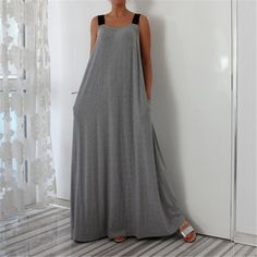 New arrival Vintage maxi dress Sling Solid Gray Sleeveless Loose Women Casual Dresses Vestidos Wholesales Beautiful Maxi Dresses, Simple Dresses, Casual Dresses For Women, Summer Dresses, Dress Casual, Woman Dresses, Dresses Dresses, Easy Sew Dress, Diy Mode