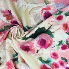 Haute couture luxury silk fabric buy online, printed floral fabric, fashion designer dresses, made in Italy