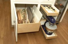 Kitchen Cabinets upgrade to Glide-Outs - contemporary - kitchen - detroit - Al Williams. Like the storage for pans and cutting boards. Kitchen Cabinets Upgrade, Kitchen Cabinet Organization, Kitchen Drawers, Home Organization, Kitchen Storage, Cabinet Ideas, Cupboards, Cabinet Storage, Cabinet Organizers