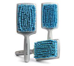 Microfiber hairbrush makes hair dry faster.