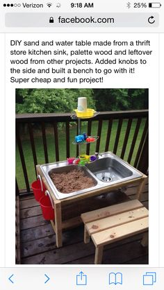 Outside kid water/sand station