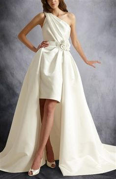 [Two In One Wedding Dress]One Shoulder Knee-length Wedding Dress With Detachable Chapel Train Skirt