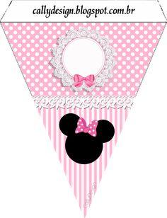 bandeirolas para varalzinho minnie rosa Minnie Mouse Birthday Decorations, Minnie Mouse Theme Party, Mickey Mouse Birthday, Mouse Parties, Mickey E Minnie Mouse, Minnie Mouse Images, Free Printable Banner, Free Printables, Party Kit
