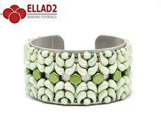 Zoli bracelet.  Miyuki seed beads 11/0;  Zoliduo 2-hole beads – Left;  Zoliduo 2-hole beads – Right;  Fire-polished beads 4mm;  Honeycomb beads.