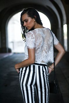 White Lace Crop Top and Striped Pants | edgy street style |