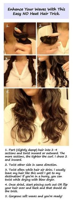 Easy natural curls - this works! i like it better than the scrunch method too, way less frizz BUT you def have to twist and twist and twist until its dry, i usually use moroccan oil, aussie mousse and suave hair spray non-aerosol and divide my hair into like six sections, twisting away from the face