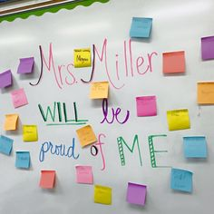 """If you're going to have a substitute and you love Post-its, this idea is for you!! I left instructions for my sub to give sticky notes to students for doing things I would be proud of. They wrote their name and """"proud moment"""" on their note...such a nice welcome back from being out when you see all those sticky notes!!"""