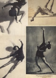 """From Hannah Höch's Album page (scrapbook), left: Dancer Gret Palucca, ca. ph, by Charlotte Rudolph. right: """"Stabhochsprung"""" Athete high jumping (pole vault) and """"Starke Geste im modernen. Contemporary Dance, Modern Dance, Hannah Höch, Dance Movement, Alphonse Mucha, Dance Photos, Dance Photography, Photomontage, Figure Drawing"""