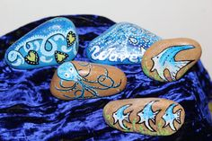 Hand painted rocks  Set of 5, nautical with fish  Garden art  Desk top entertainment