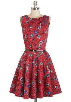 Luck Be a Lady Dress in Blossom by Closet London - Red, Blue, Floral, Belted, Work, Fit & Flare, Sleeveless, Woven, Better, Variation, Scoop, Cotton, Exposed zipper, Pockets, Fall, Print, Best Seller, Top Rated, Mid-length