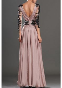 Price Drop!!  V-neck Black Lace Long Sleeves Floor Length  Prom Gowns Party Evening Dresses(ED0568)