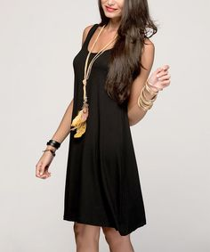 Black Scoop-Neck Sleeveless Dress #zulily #zulilyfinds