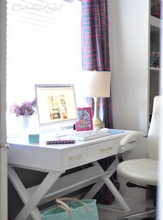 centsational girl office desk, would be great to replace the vanity.  Wish our monitor was so sleek and white too!