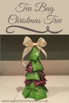 Tea Bag Christmas Tree - I Choose Me - Learn how easy it is to make a Tree Bag Christmas Tree for the tea lover on your list. Download your Creativity Card and create your own giftable tree.