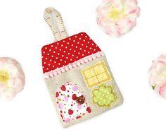 Fragrant moth repellent lavender appliqué house hanging decoration - Red polka dot