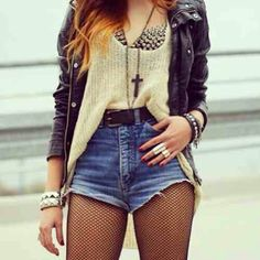Rock Look. Fishnets. Stud Bra. Leather Jacket. Teen Fashion. By-Iheartfashion14   →follow←