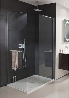Simpsons - Design Semi Frameless Shower Panel with Towel Rail 800mm | CompareTheBathroom.com