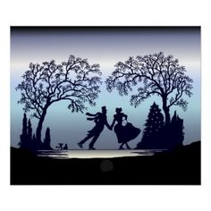 Ice Skating in the Park - Silhouette Poster - winter gifts style special unique gift ideas