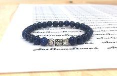 6mm Blue Lapis Lazuli Gemstones Stretch Celtic knot Tibetan Bracelet, Healing Chakra Protection Yoga Mala Zodiac Taurus Sagittarius Bracelet by ArtGemStones on Etsy