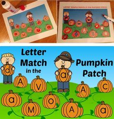 """Letter & Letter Sound Match in the Pumpkin Patch is a fun and seasonal way to practice letter recognition and letter sounds (beginning sounds). Students use dot painters (bingo dabbers), dry erase markers, bingo chips, counters, crayons, etc. to mark or """"pick"""" pumpkins for festive fun. https://www.teacherspayteachers.com/Product/Letter-Letter-Sound-Match-in-the-Pumpkin-Patch-1465638"""
