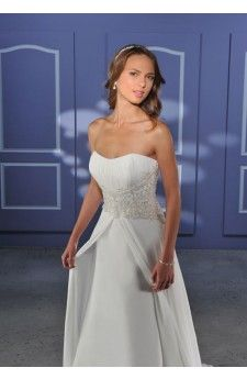 Empire Strapless Appliques Beads Working Chiffon Satin Wedding Apparels