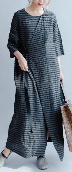 new black plus size sundress elegant casual linen summer dress short sleeve maxi dress side open3