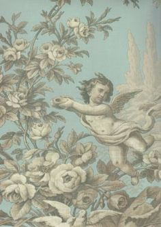 cherub aqua and metallic gold toile wallpaper