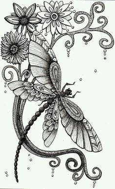 Dragonfly and Bee – Pen and ink drawings. - Zentangle flowers with tempera-value background – each table draws a of the flower – then p - Dragonfly Drawing, Dragonfly Art, Dragonfly Illustration, Illustration Pen And Ink, Woodland Illustration, Dragonfly Tattoo Design, Doodles Zentangles, Zentangle Patterns, Zentangle Animal