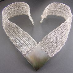 Crocheted pure silver and abalone shell - how amazing