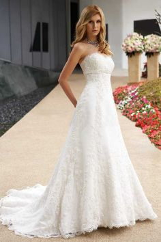 Gorgeous A-line Sweetheart Floor-Length Chapel Lace Wedding Dresses