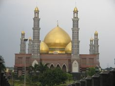Dian Al-Mahri Mosque in Depok - West Java, with its domes covered with 18-carat gold.