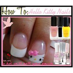 How To: Hello Kitty Nails Holy Cuteness! Hello Kitty Nails, Toe Nail Designs, Ring Finger, Toe Nails, Nail Polish, Nail Art, Manicure Ideas, Polyvore, Beauty