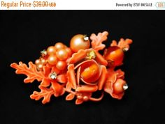 Orange Flower Brooch  Haskell esque  wired glass