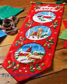 Bucilla felt applique kits are a Christmas tradition. The 3 scenes include a Winter Village scene complete with a snow covered church and houses, a forest scene with a Reindeer in the snow and a country scene with a snow covered bridge. Christmas Scenes, Felt Christmas, Vintage Christmas, Christmas Stockings, Christmas Ornaments, Felt Wall Hanging, Holiday Banner, Jolly Holiday, Christmas Wall Hangings