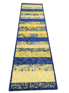 Blue and Yellow Scrappy Quilted Table Runner. Table Runner Quilt, Handmade Patchwork Quilt by QuiltSewPieceful on Etsy Patchwork Table Runner, Quilted Table Runners, Braid Quilt, Table Runner Tutorial, Easter Fabric, Bed Runner, Custom Quilts, Tummy Time, Table Toppers
