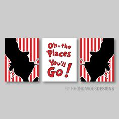 Dr Seuss Cat in the Hat Print Trio - Decor Nursery. Child. Kid. Bedroom. Bath - Red Black White Stripe - You Pick the Size & Colors (NS-374) on Etsy, $22.63 CAD
