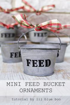 DIY Rustic Christmas Ornaments Ideas - Use small galvanized buckets for tiny feed bucket ornaments - Rustic Farm and Farmhouse Christmas Theme MichaelsMakers