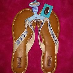 Madpole sandals very cute NWT Cute canvas strap with teal, blue and silver colored beads. Brand new never worn madpole Shoes Sandals