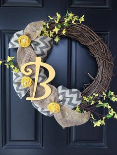 Grapevine wreath with yellow flowers, burlap and grey chevron burlap, vintage yellow fabric flowers with pearl center and initial    Please