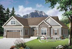 Discover the plan (Oakdale which will please you for its 4 bedrooms and for its Ranch styles. House Plans One Story, Family House Plans, One Story Homes, Ranch House Plans, New House Plans, Small House Plans, House Floor Plans, Home And Family, One Level House Plans