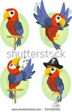 Cartoon parrot set - stock vector