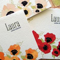 poppy personalized note cards ... #etsy by the sweet unfolding ... LOVE  comes in yellow, pink, orange, red, purple