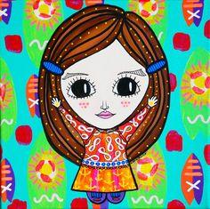 """""""Anclas Girl"""" Acrylic on canvas Clara Trucco Art"""